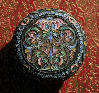 Russian Cloisonne Box for Sale, back.